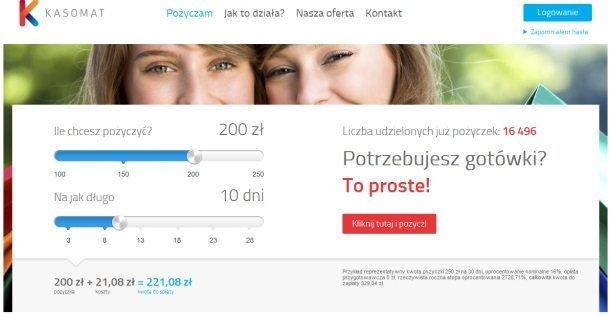 Tak się prezentuje strona, na której możemy skorzystać z formularza o pożyczkę w kasomat.