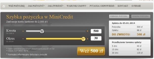 Strona serwisu MiniCredit